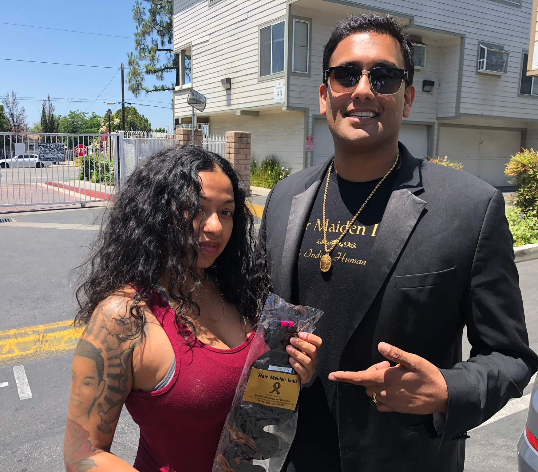 Hair Maiden India CEO Rocky Singh Kandola with client from Beverly Hills California